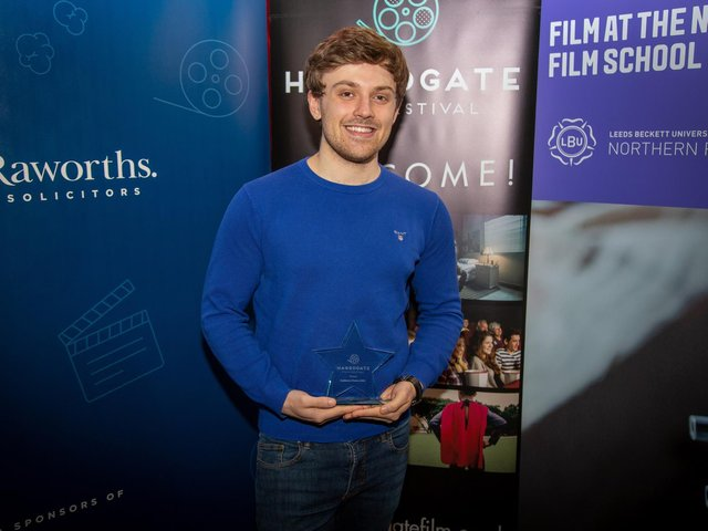 Award - Harrogate filmmaker Lewis Robinson, winner of the Audience Choice Award, in this year's Harrogate Film Festival, pictured at Everyman cinema.
