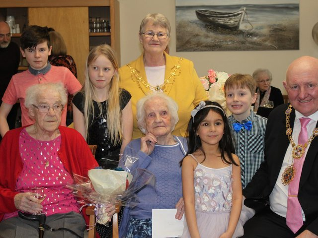 Rose with her family and the Mayor and Mayoress of Borough of Harrogate.