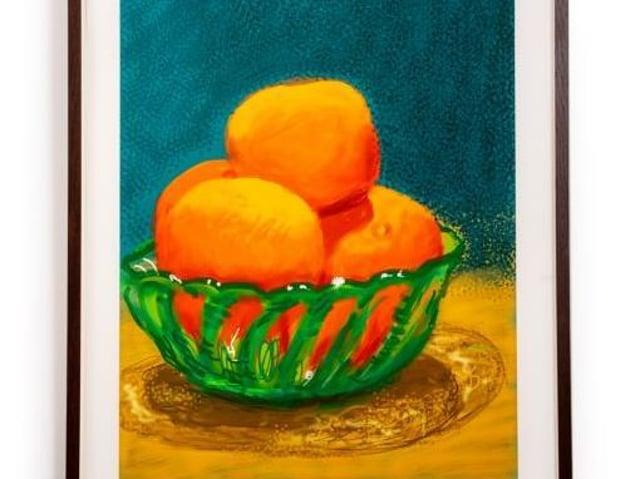 Part of an exciting new Harrogate exhibition - David Hockney's wonderful Oranges iPad artwork.