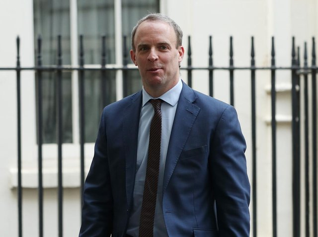 Foreign Secretary Dominic Raab leaving No 10 Downing Street, after a media briefing in Downing Street, London, on coronavirus (COVID-19). London. Photo: PA