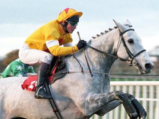 One Man and Richard Dunwoody on their way to winning the Charlie Hall Chase at Wetherby in 1997. Picture: Alan Wright (www.officialphotographersuk.com)