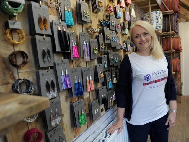 Susie Hart MBE in the new Artizan International shop in Harrogate.