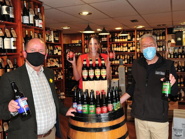 Daleside Brewery business development manager Vincent Staunton, left, with Martha Rudd and Des Bottomley of Ake & Humphries Wine and Beer Merchants in Harrogate which is stocking bottles of Daleside beer.