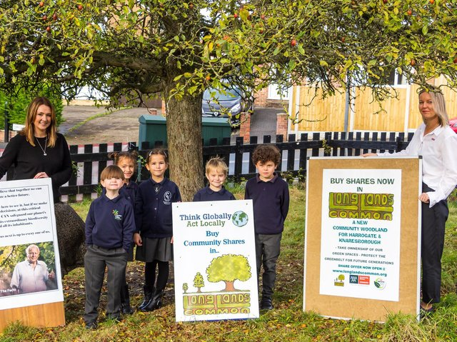 Supporting Long Lands Common - Emma Meadus, headteacher of Coppice Valley Primary School in Harrogate, with pupils Freddie, Hannah, Vivien, Hugo and Fraser and teacher Miss Wright.  (Picture by Artemis Swann)