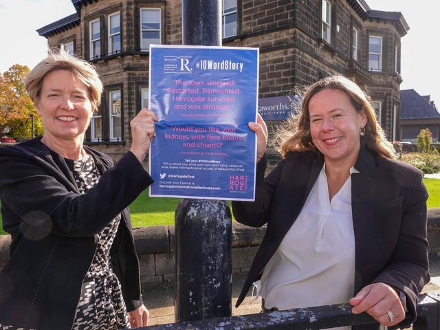 Ten Word Stories competition - Raworths managing  partner Zoe Robinson and Harrogate International Festivals chief executive, Sharon Canavar.