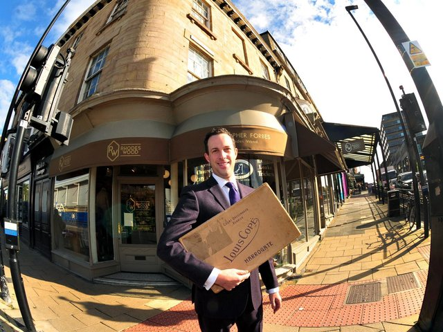 Alex Goldstein, the great grandson of legendary Harrogate luxury fashion retailer Louis Cope returns to the site of the Louis Cope store which stood on the corner of Parliament Street.