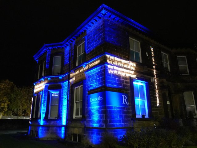 Bright idea - The light installation at Raworths' Harrogate office ahead of next week's sparkling online literature festival packed with famous names.