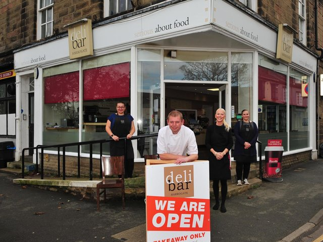 Still trading for takeaways - Owner Darren Winder outside the Deli Bar in Harrogate with staff, from left, Ilona Diduch, Hayley Francis and Lisa Wilson. (Picture Gerard Binks)