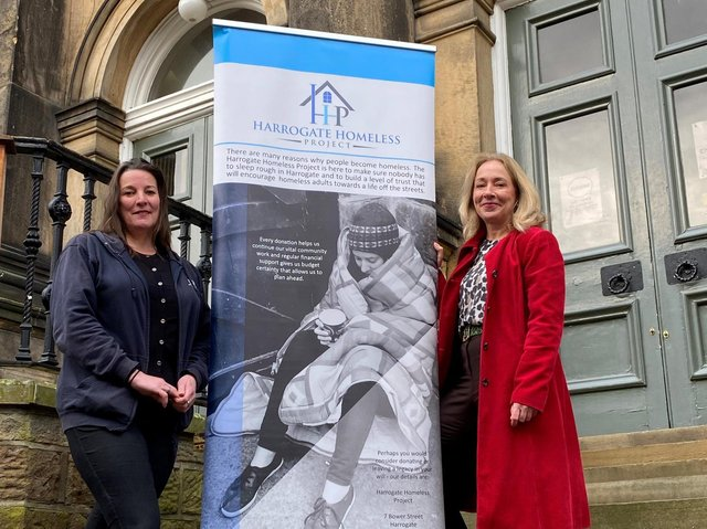 Boost for homelessness facilities - Liz Hancock, chief executive of Harrogate Homeless Project (left) with Pippa French of the Wesley Centre on the steps of the Wesley Centre.