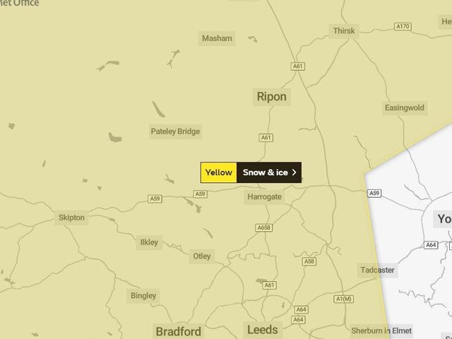 The Met Office warning map covers the whole of the Harrogate district.