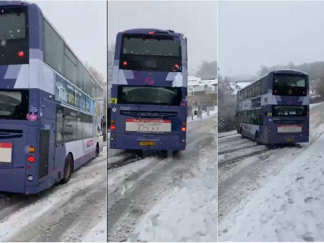 Going... going.... GONE! This Halifax bus driver pulled a mad drift on a road near the Matalan store in Halifax this afternoon, as this video by Scott Downsborough shows