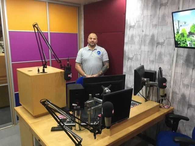 Inside new studio - Sean Clarke, owner of Doors Direct, which is the location for HG1 Radio's new Harrogate base.