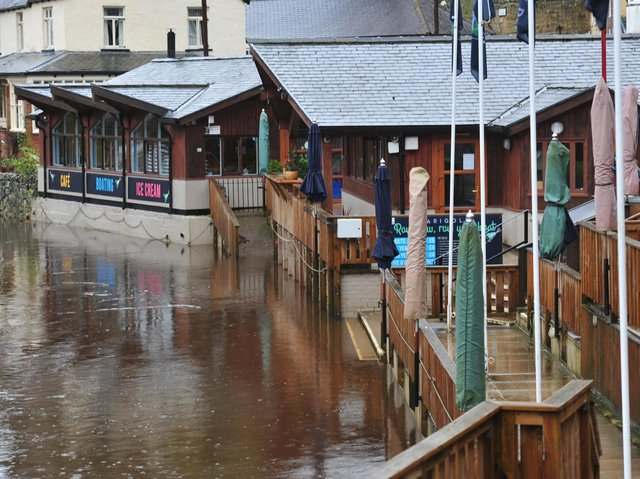 The Marigold Cafe in Knaresborough as the River Nidd levels rise. (Picture Gerard Binks)