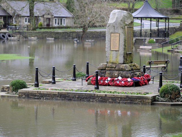 Flooding around the War Memorial in Pateley Bridge last year during the February storms.
