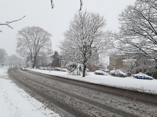 Snow hits Harrogate - Devonshire Place on Skipton Road today.