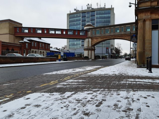 The roads in Harrogate town centre were mostly normal this morning, though quiet, despite the snow showers, as this picture of Station Parade shows.