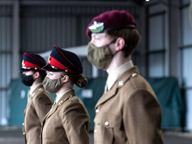 Commemorating Captain Sir Tom Moore - Young soldiers at Harrogate's Army Foundation College. (Photo courtesy of  Cpl Danielle Dawson / Crown Copyright).