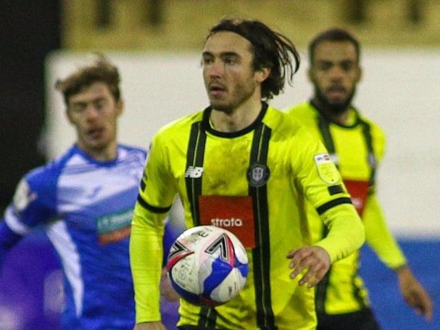 Dan Jones in action during Harrogate Town's 1-0 success over Barrow at Holker Street. Pictures: Matt Kirkham