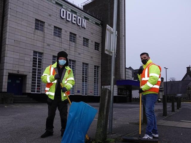 Spring Clean underway - Harrogate BID's cleaning team begins its 'washing and weeding' of Harrogate's East Parade.