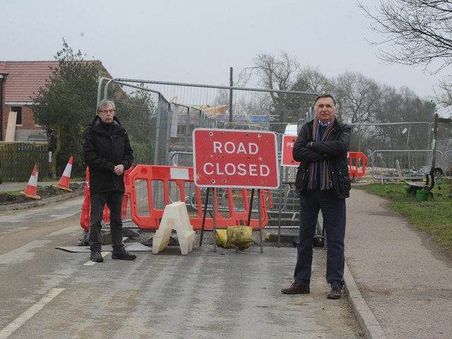 Pictured from left are concerned residents David Siddans and David Parry on Whinney Lane, Harrogate.