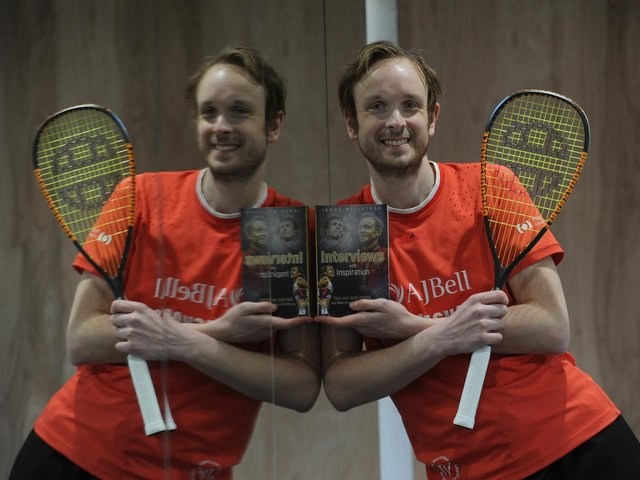 World Squash Champion James Willstrop with his new book, Heroes and Icons... and What Drives Them to Succeed.