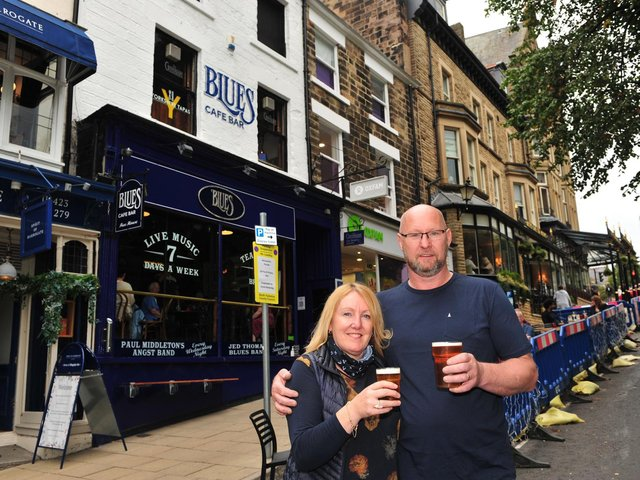 Pictured are Sharon and Simon Colgan of the Blues Cafe Bar in Harrogate.