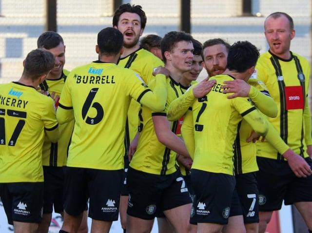 Harrogate Town players celebrate. Pictures: Matt Kirkham