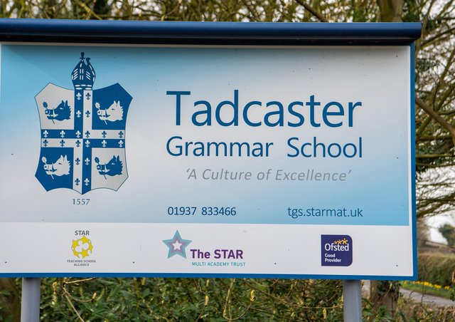 Date: 17th March 2020.Picture James Hardisty.Tadcaster Grammar School, posted a notice for parents that the school will be closed to students in Years 8,9,10, and 12 from the end of today due to the Coronavirus.