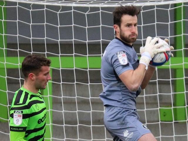 Harrogate Town goalkeeper James Belshaw in action against Forest Green Rovers. Pictures: Matt Kirkham