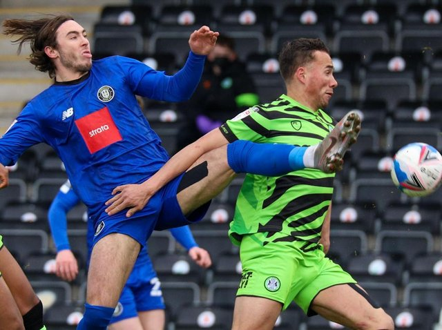 Dan Jones stretches for the ball during Harrogate Town's League Two loss at Forest Green Rovers. Pictures: Matt Kirkham