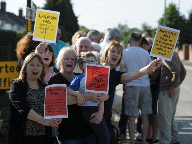 Residents of the Kingsley area of Harrogate protesting about new housing in 2019.