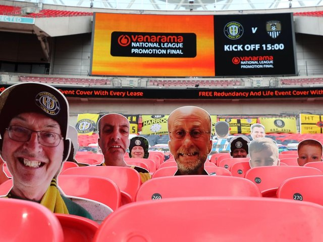 The only Harrogate Town supporters allowed inside Wembley Stadium for the club's last visit were cardboard cut-outs. Pictures: Getty Images