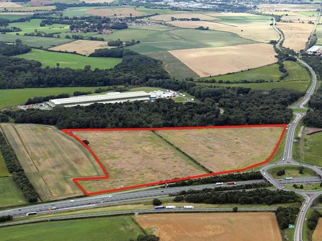 The planned business park site at junction 47 of the A1(M).