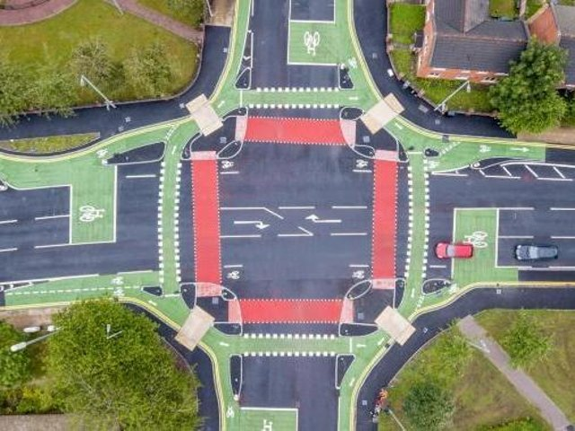 From above: The UK's first CYCLOPS junction in Manchester. Photo: Manchester City Council.