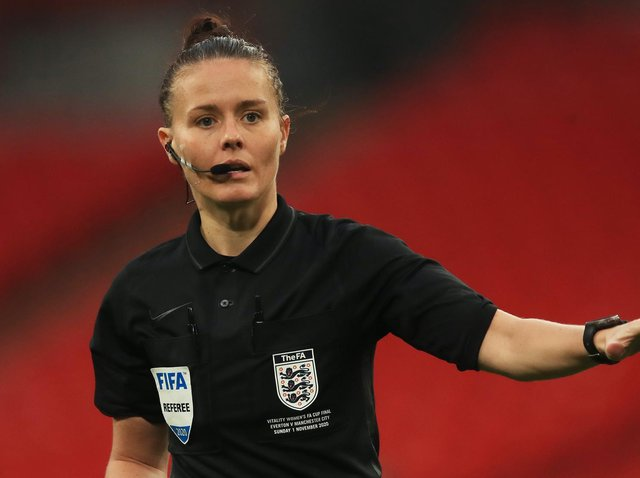 Rebecca Welch refereed the 2020 Women's FA Cup Final match between Everton Women and Manchester City Women at Wembley Stadium. Picture: Getty Images