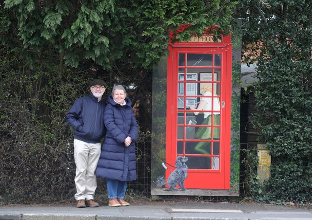 New artwork of a phone box by local artist Shirley Vine was unveiled at the corner King James Road and Aspin Lane, Knaresborough. The work was commissioned by Matt and Lynn Curl pictured. Picture Gerard Binks