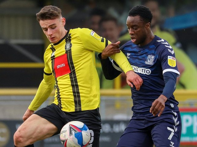 Simon Power limped off injured during the first half of Harrogate Town's League Two defeat to Southend United. Picture: Matt Kirkham