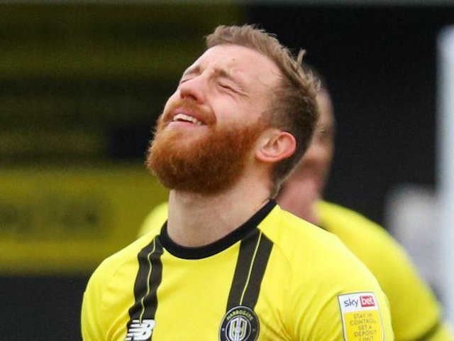 George Thomson couldn't hide his frustration during Harrogate Town's home defeat to struggling Southend United. Pictures: Matt Kirkham
