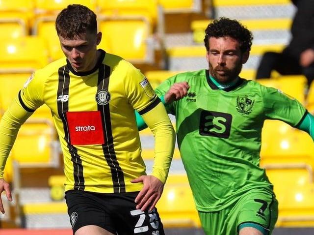 Josh McPake in action during Harrogate Town's 2-0 home defeat to Port Vale. Pictures: Matt Kikrham