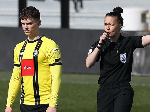 Referee Rebecca Welch made history when she took charge of Harrogate Town's League Two clash with Port Vale. Pictures: Getty Images