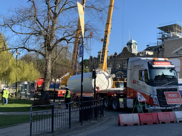 Heavy lifting - The giant cranes outside the Royal Hall today as dismantling of the NHS Nightingale hospital in Harrogate is stepped up a gear.