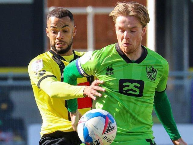 Harrogate Town right-back Warren Burrell in action during Easter Monday's home defeat to Port Vale. Pictures: Matt Kirkham