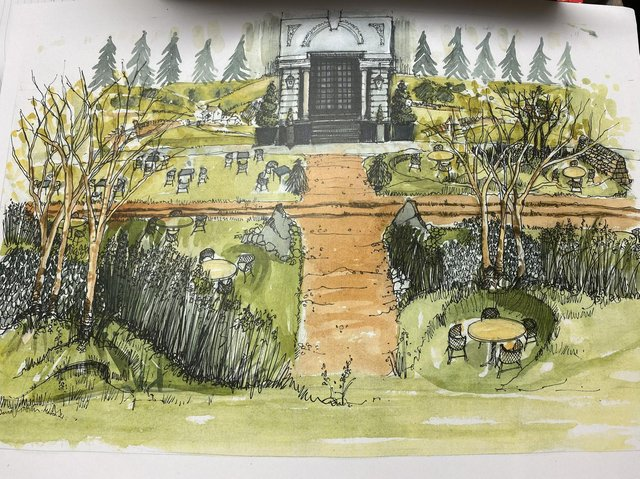 'Ales in the Dales' at the Yorkshire Hotel in Harrogate - An artist's illustration by David Griffin of how the site will look on Monday.