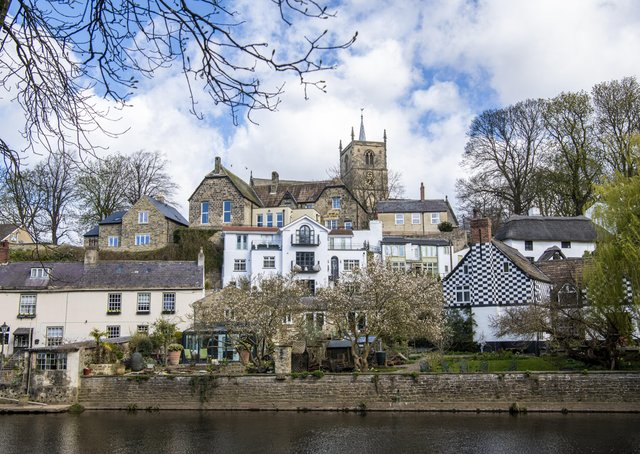 St Johns church and the River Nidd viewed from Mother Shipton's Cave in Knaresborough, now reopened after covid lockdown restrictions were lifted.   Picture Tony Johnson