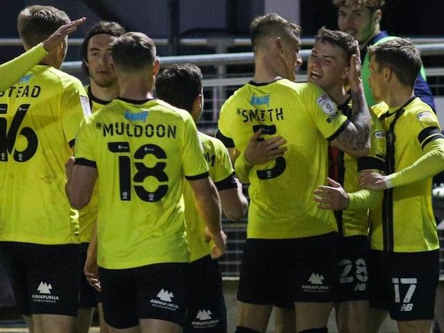 Harrogate Town celebrate after Josh McPake netted their second goal against Leyton Orient. Pictures: Matt Kirkham