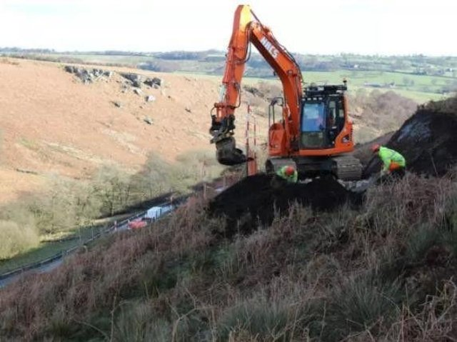 Works during a landslide at Kex Gill in 2017.