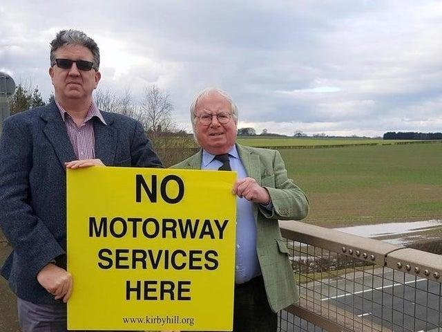 Campaign group chairman Gareth Owens and Harrogate councillor Nick Brown close to the proposed site. Photo: Kirby Hill RAMS.