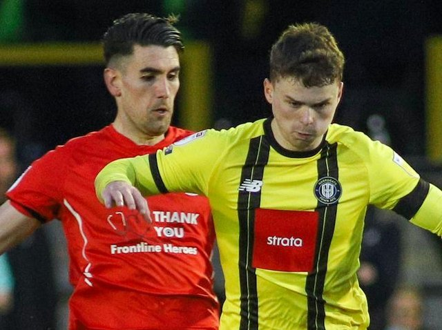 Josh McPake in action during Harrogate Town's 2-2 draw with Leyton Orient. Pictures: Matt Kirkham
