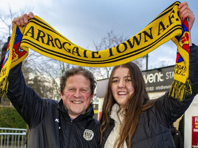 Harrogate Town supporter Dave Worton, left, and his daughter, Molly, outside the EnviroVent Stadium.
