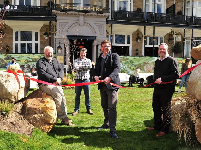 Pictured the ribbon cut in the outside beer garden from Nick Smith cutting ribbon with from left , Phil Airey, Nick Fryer and MD HRH group Simon Cotton. Picture Gerard Binks